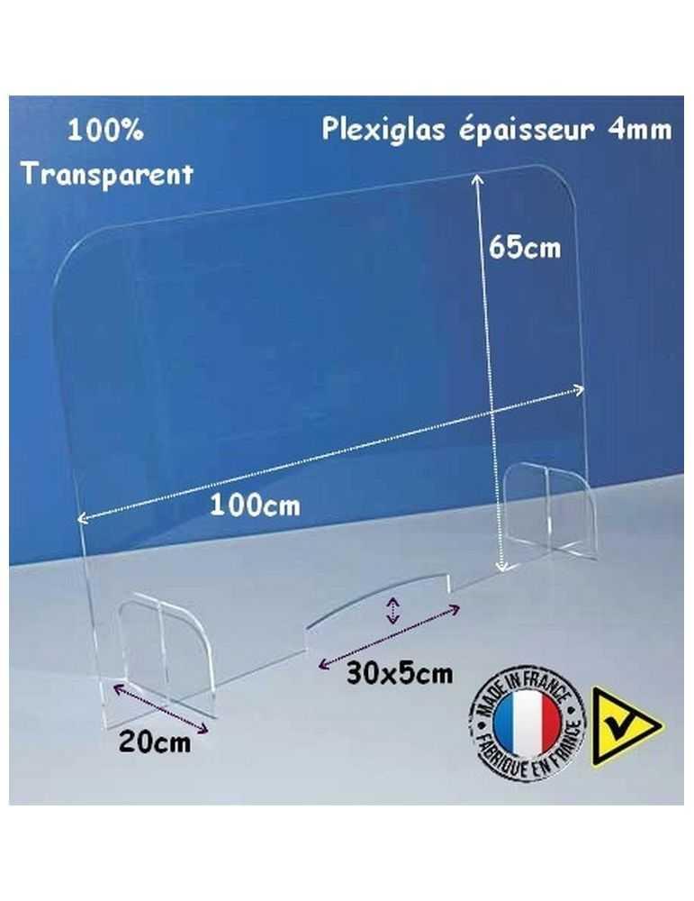 Protection plexiglas - hygiaphone avec passe-document - dimensions - Réf.: FlxSED