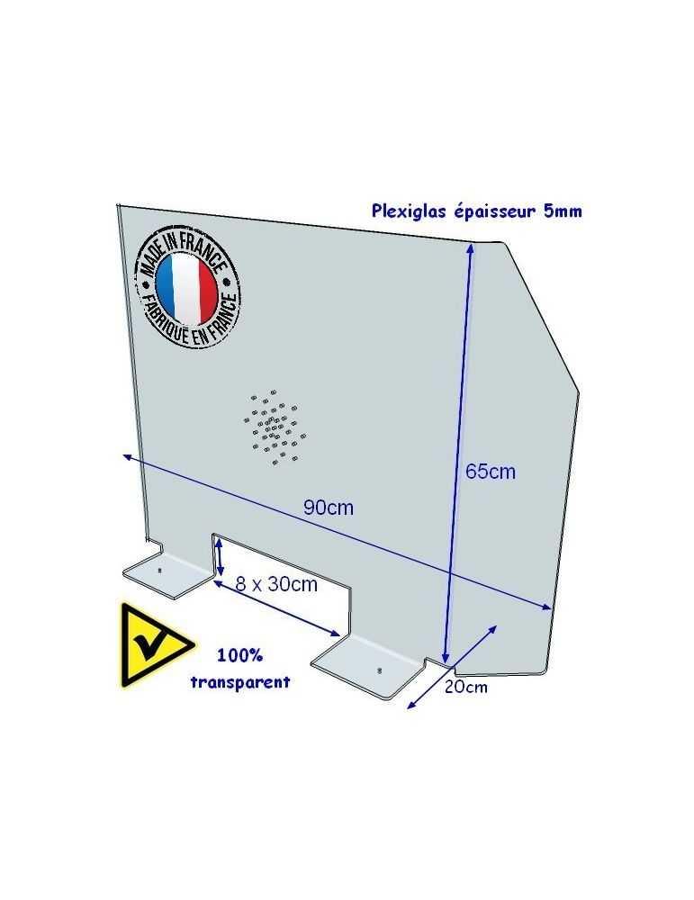 Hygiaphone plexiglas protection coronavirus grippe épidémie pandémie prévention passe-document dimensions