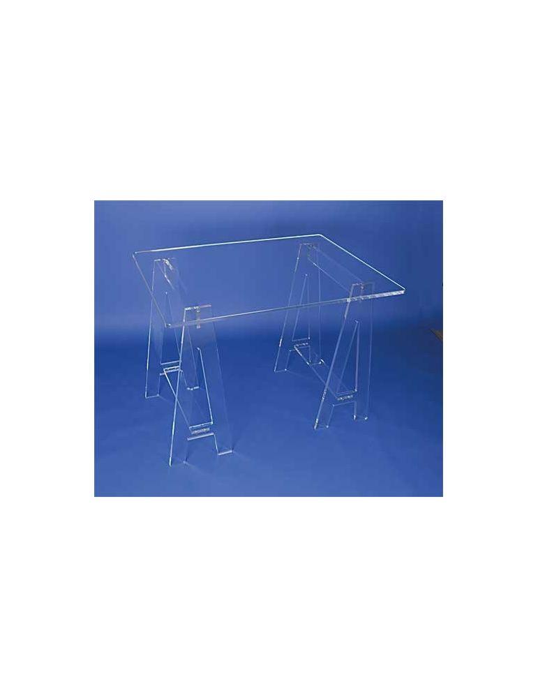 Petit bureau plexiglas cristal sur tréteaux - videoson.eu