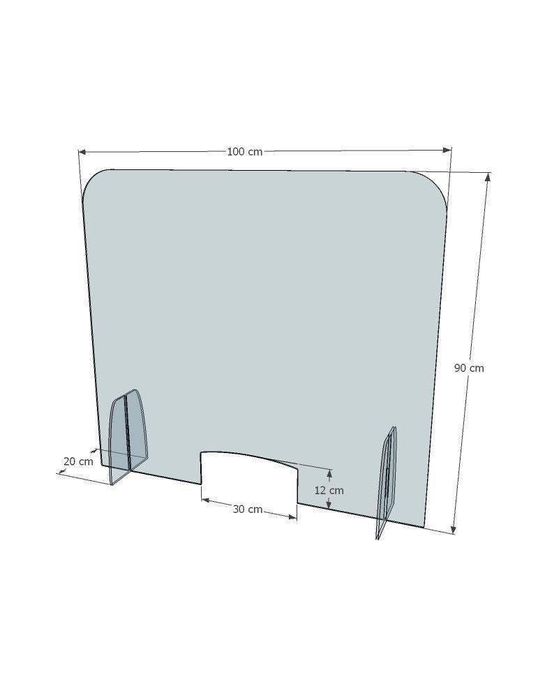Protection COVID 100x90cm plexiglas avec passe-document - Réf.: FlxSEDG - Dimensions